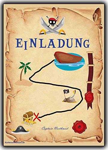 Einladungskarten Set als Schatzkarte Piraten-party Pirat Schatzsuche Jungen Mädchen - 12 Stück Schatzinsel Einladung Piratengeburtstag Geburtstagseinladung Kinder-Geburtstag Karten