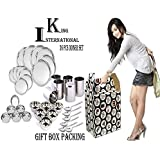 King International Stainless Steel Silver Diwali,Dhanteras Special Dinner Set,Set Of 36 Pieces