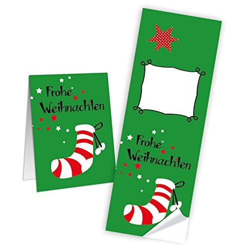 """Preisvergleich Produktbild 10 Aufkleber Sticker """"Frohe Weihnachten"""" mit rot weiß gestreifter Nikolaus Socke (5 x 14 cm) beschreibbar - Etiketten Banderolen zum Verschließen und Dekorieren; 1a-Qualität"""