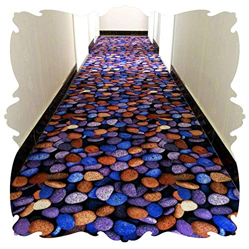 Kzf Runner pflegeleicht weichen und langlebigen Teppich Korridor Teppich Läufer Slip Printing Kopfsteinpflaster blau 3D Blume kann maßgeschneidert Werden
