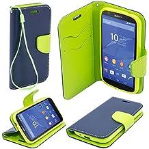 Moozy dos colores Fancy Diary Libro funda Flip con Stand / correa para la muñeca / soporte de silicona para Sony E2105 Xperia E4 Azul / Verde claro