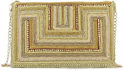 Bolso bandolera pedreria bordado tonos dorados. 28x19 cm.