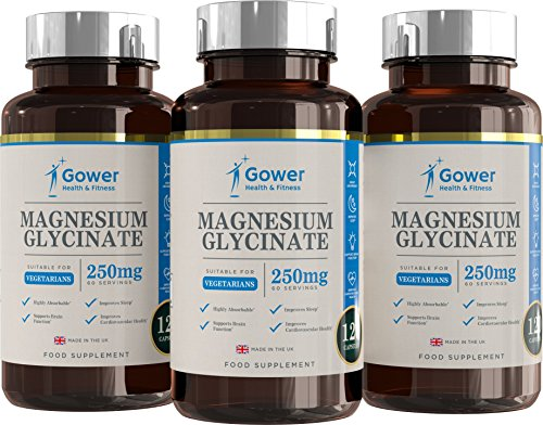 Magnesiumglycinat 250mg - 120 Vegetarische Kapseln (VORRAT FÜR 2 MONATE) | Eine Sehr Bioverfügbare Form von Magnesium | Hergestellt in ISO-zertifizierten Betrieben in GB - 100% Geld-zurück-Garantie (3 Flaschen)