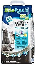 Biokat's Diamond Care MultiCat Fresh mit Duft - Feine Katzenstreu mit Aktivkohle speziell für Mehrkatzen-Haushalte - 1 Sack
