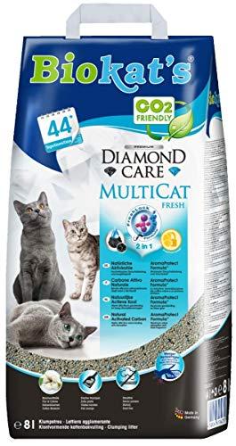 Biokat\'s Diamond Care MultiCat Fresh mit Duft - Feine Katzenstreu mit Aktivkohle  speziell für Mehrkatzen-Haushalte - 1 Sack (1 x 8 L)
