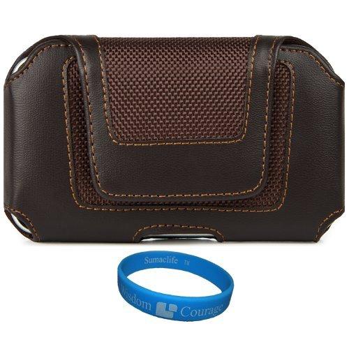Sumaclife Premium Faux Leather Holster Case (Lea864) For Sony Xperia Z3 Compact / Xperia Z1 Compact / Xperia M Dual Smartphones + Tm Wisdom Courage Wristband (AD_SAMLEA864STP777_W07)