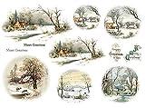 Reispapier A4 - Winterlandschaft mit Reh. Motiv-Strohseide, Strohseidenpapier, Decoupage Papier