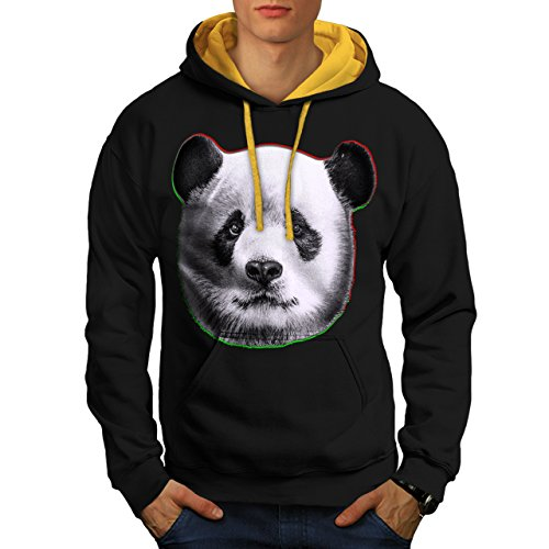cracked-wood-panda-timber-style-men-new-black-gold-hood-xl-contrast-hoodie-wellcoda