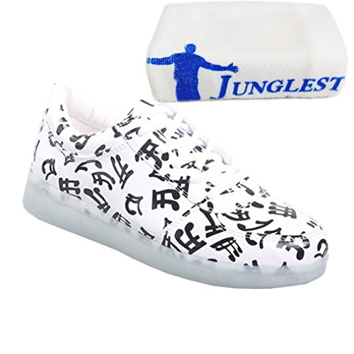 [Present:kleines Handtuch]JUNGLEST® Schwarz 7 Farbe Unisex LED-Beleuchtung Blink USB-Lade Turnschuh-Schuhe c19