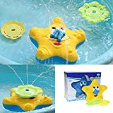 ENLI Baby Starfish Bath Toy Floating Bathtub Sprayer Shower Electronic Rotating Water Fountain Swimming Toy for Kid.(Yellow-Coloured)