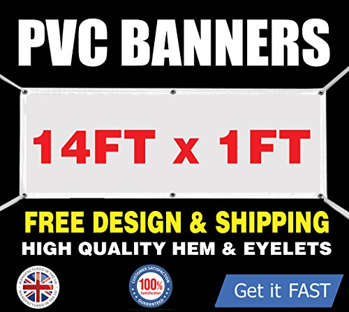 PVC-Banner 14ft x 1ft-bedruckt Outdoor Vinyl Zeichen für Business Partys Geburtstage - 14' Vinyl