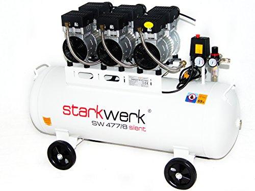 Starkwerk Silent Druckluft Kompressor SW 477/8 Ölfrei 100L Kessel Flüsterkompressor