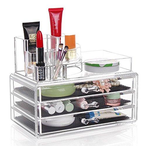 TuTu Boîte de rangement en bijoux transparents en cristal acrylique / tiroir multi-couche type boîte de cosmétiques / écouteur de bijoux (24 * 13,5 * 18,5 cm)