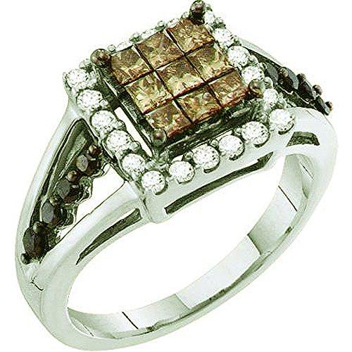 1,00Karat (ctw), 14K Weiß Gold Round & Princess Cut weiß, braun & schwarz Diamant Damen Rechte Hand Ring (1-karat-diamant Ring Princess Cut)