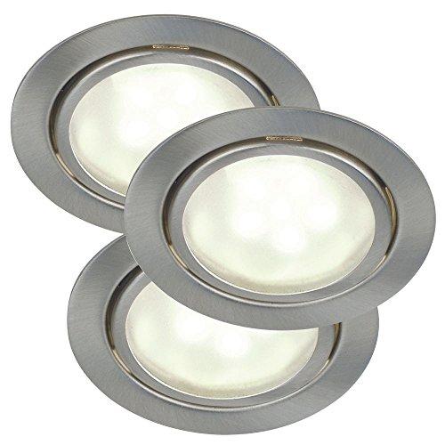 Nordlux LED Einbaustrahler 3er Set MERCUR LED 3-KIT, 3x1,2W, G4, 3200K, 60lm, IP44, Stahl gebürstet EEK: A+ G4-kit