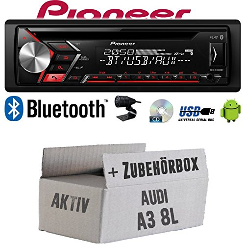 Autoradio Radio Pioneer DEH-S3000BT - Bluetooth | CD | MP3 | USB | Android Einbauzubehör - Einbauset für Audi A3 8L AKTIV - JUST SOUND best choice for caraudio