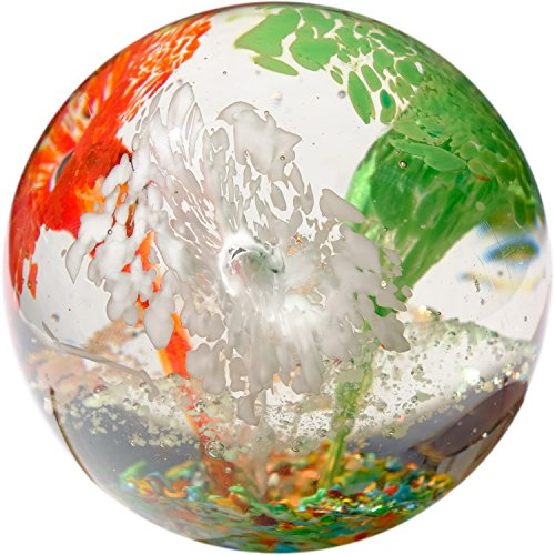 Kaltner Präsente Geschenkidee: Traumkugel Glaskugel Briefbeschwerer Kugel aus Glas Farbe Rot Weiß Grün (Ø 85 mm)