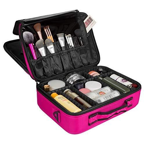 Kosmetik Organizer für Damen, SOLOFISH Makeup Tasche Kosmetikkoffer, Make Up Etui Kosmetische Tragbare Reise Künstler Aufbewahrungstasche Toiletry Organizer mit einstellbaren Teiler (Rosa,Groß)MEHRWEG