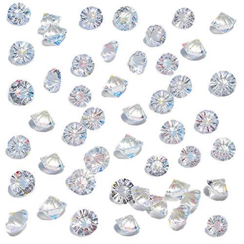 HAKACC 500 Stück Glitzernde Deko Diamanten, 10mm Brillanten Glasdiamanten Klare Kristalledelsteine für Hochzeit Gunst Tabelle Mittelstück