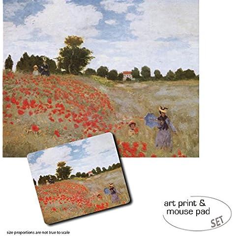 Set Regalo: 1 Stampa D'Arte (50x40 cm) + 1 Tappetino Per Mouse (23x19 cm) - Claude Monet, Papaveri, 1873