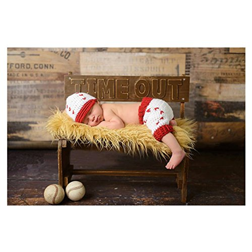 Handgefertigt Infant Newborn Baby Mädchen Boy Crochet Knit Mütze Hose Fotografie Requisiten Baseball OUTFITS (Infant Kostüme Baseball)