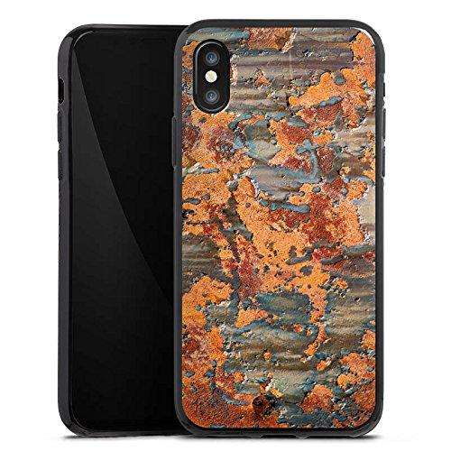 Apple iPhone X Silikon Hülle Case Schutzhülle Rost Look Struktur Silikon Case schwarz