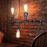Water Pipe Wandleuchter, SUN RUN Metall 3 Kopf Vintage Industrial Wandleuchte mit Retro-Stil für Bar, Küche, Wohnzimmer und Schlafzimmer, E26 Sockel-Lampe