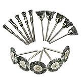 B Blesiya 15x Rundbürsten Edelstahl Drahtbürste für Metalloberflächenreinigung, Entrosten, Schleifen, Stäuben, Entgraten, Polieren, Strippen