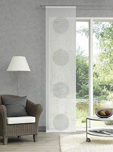 GardTex Schiebegardine transparent mit auffälligen Kreisen Farbe grau