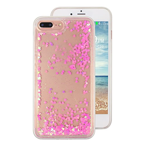 iPhone 7 Plus Hülle, iPhone 7 Plus Glitzer Case Rosa Schleife 3D Bling Shiny Case Transparent TPU Silikon Back Cover Glitter Glitzer Tasche Handyhülle Bling Schale Etui Tasche Case Cover Beschützer Ha A - Rosa Herz