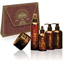Icon India Five Set - India Shampoo 8.5 oz, India Conditioner 8.5 oz, India Oil 3.8 oz, India Healing Spray 8 oz, India 24K Masque 8.5 oz by ICON Clothing
