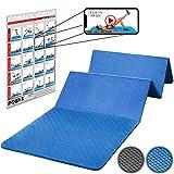 Gymnastikball - POWRX Gymnastikmatte Faltbar PVC Frei 180 x 60 x 1,5 cm Blau oder Schwarz | Trainingsmatte Pilatesmatte Fitnessmatte Bodenmatte Yogamatte (Blau)