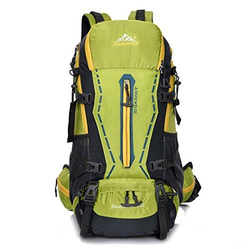 45L Rucksack Nylon wasserdicht große Kapazität Multifunktions-Rucksack mit abnehmbaren Rucksack mit dem System für Bergsteigen Reisen Klettern Outdoor Sports Pack H55 x L32 x T22 cm Green