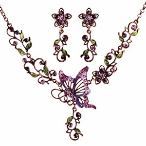 (Superb Quality) Vintage Purple Butterfly, Flowers, and Leaves with Cubic Zirconias Necklace & Earrings Jewellery Set - Perfect Gift Idea / Specially Gift Boxed