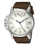 2ee8be91 Puma Ultrasize - Reloj análogico de cuarzo con correa de cuero para hombre,  color marrón