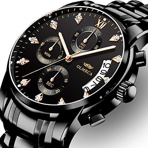 OLMECA Relojes Hombre Moda de Lujo Reloj de Pulsera de Cuarzo Cronógrafo Impermeable con Cuero, Relojes de Acero Inoxidable para Hombres. (A-Negro)