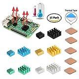 Geeekpi Raspberry Pi Kühlkörper-Set, Kupfer & Aluminium Kühlkörper, Kühlung-Set, mit Wärmeleitkleber-Klebeband für Raspberry Pi B + & Raspberry Pi 3/2Model B, 15-teilig
