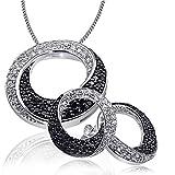 Goldmaid Damen-Schmuckset Halskette + Ohrringe 925 Sterlingsilber weiße und schwarze Zirkonia Kettenanhänger Schmuck