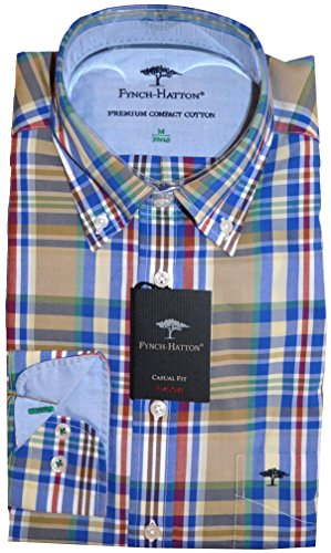 Fynch Hatton - Chemise casual - Col Boutonné - Homme - Red-Green 6606