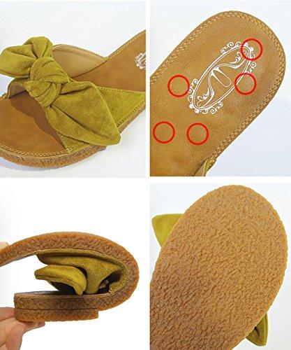 CHAOXIANG Pantofole Da Donna Antiscivolo Con tacco Ciabatte Piatte Sandali Da Surf Nuova Estate Ciabatte Spiaggia ( Colore : Nero , dimensioni : EU38/UK5/CN39 ) Giallo