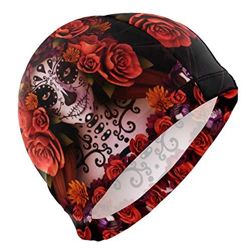 Tyueu Unisex Swimming Cap Sugar Skull Roses Halloween Lycra Swim Cap Swimming for Women Men Schwimmhaube (Sugar Skull Halloween Haar)