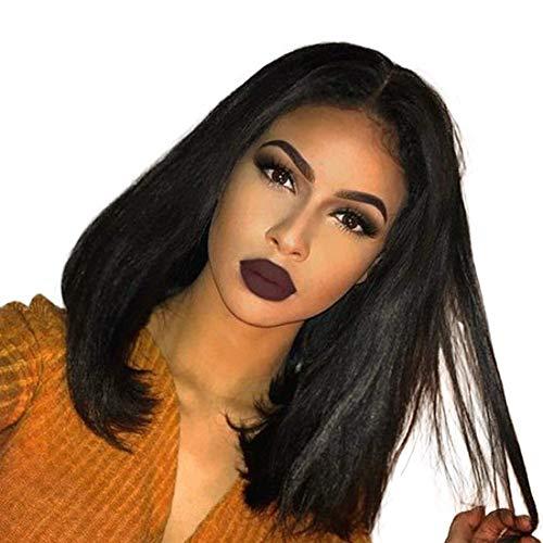 winbowig 7A kurz Bob brasilianisches seidig glattes Echthaar Frontbefestigung gratis Teil Perücken Full Lace Perücken mit Baby Hair Natural schwarz 150% Dichte