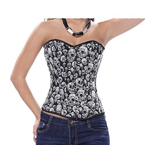 Frauen Korsett Bustier Gothic Sexy Schädel Kostüm Top Burlesque Basque Lace up Stahl ohne Knochen Vollbrust Kleidung