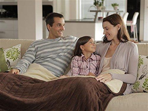 Premium Plüsch XXL Heizdecke Braun Elektrische Wärmebett Wärmeunterbett Wärmedecke mit Abschaltautomatik & Überhitzungsschutz & Timer waschbar
