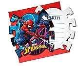 12-teiliges * SPIDER-MAN * Einladungskarten-Set für Kindergeburtstag und Motto-Party | bestehend aus 6 Einladungen und 6 Umschlägen | Marvel