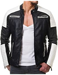 Redbridge Veste simili cuir biker geteppt Noir et Blanc m6014