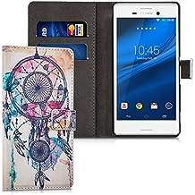 kwmobile Funda para Sony Xperia M4 Aqua - Wallet Case plegable de cuero sintético - Cover con tapa tarjetero y soporte Diseño Atrapasueños con manchas en multicolor azul blanco