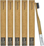 5 Pack Bamboo Toothbrushes - Adult Size - Natural Teeth Whitening - Eco Friendly - Biodegradable and BPA Free with Charcoal Infused Bristles