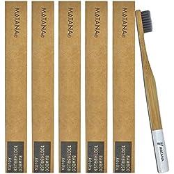 Paquete de 5 Cepillos de Dientes Manual de Bambú Chuckle – Tamaño para Cuidado Bucal de Adulto - Blanqueador Dental Natural – Ecológico, Orgánico y Biodegradable sin BPA