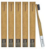 5 Pack Bamboo Toothbrushes – Adult Size - Natural Teeth Whitening - Eco Friendly - Biodegradable and BPA Free with Charcoal Infused Bristles